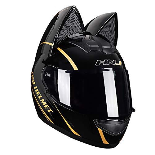 JJXD Motorcycle Full Helmet, Personalized Cat Ears Adult Flip Visor Modular Full Face Motorcycle Helmet DOT Certification, Suitable for ATV Mountain Bike Cross-Country Motorcycles,M