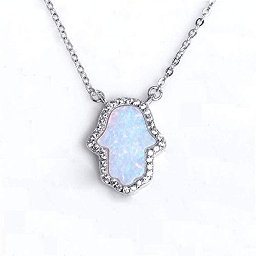 CCXXYANG Co.,ltd Necklace Opal Hand of Charm Genuine 925 Sterling Silver Pendant Necklace Jewelry Long Chain Necklace 45Cm