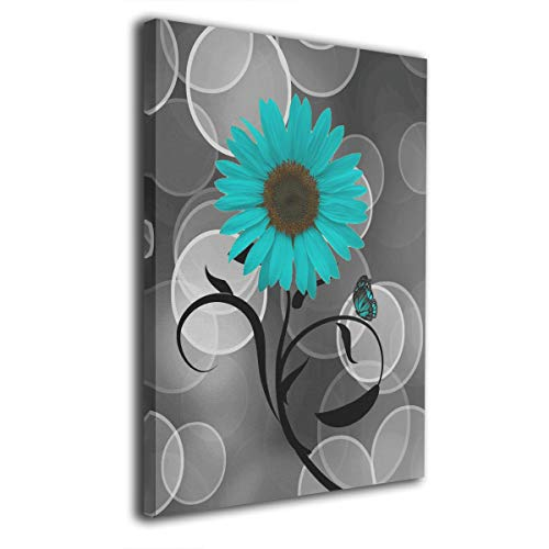 Kingsleyton Butterfly Teal Gray Sunflower Modern Painting Oil Hand Painting Wall Art On Canvas Abstract Artwork Framed Hanging Wall Decoration(16