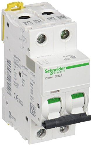 Schneider Electric A9F74232 IC60N Interruttore di circuito, Acti9, 2P, 32A, Curvatura C, 50/60 Hz, Bianco