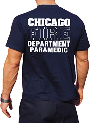 feuer1 T-shirt fonctionnel Navy avec protection UV 30+, Chicago Fire Dept, paramètres, inscription blanche XL bleu marine