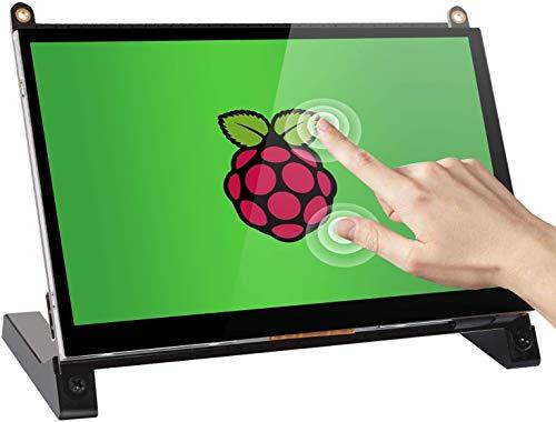 Monitor touchscreen, EVICIV 7 pollici Portatile Raspberry Pi IPS Display 1024X600 Monitor di Gioco HDMI con Altoparlanti Integrati per Raspberry Pi 4 3 2 Zero B + Modello B Xbox PS4 iOS Windows 7/8/10
