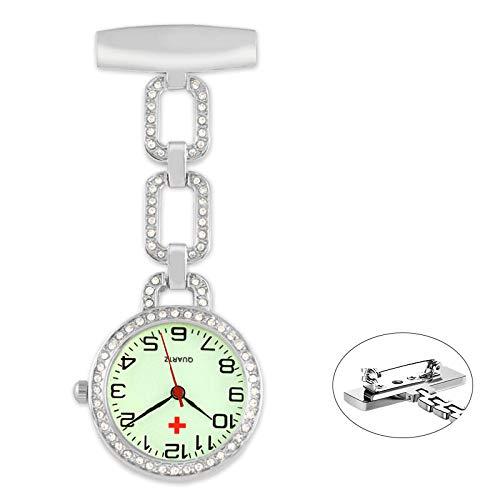 nohbi Kitteluhr Pflegeuhr,Krankenschwestertaschenuhr mit Leuchtzifferblatt,tragbare Taschenuhr mit Strass-to,Brosche hängen Taschenuhr