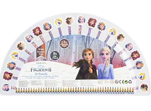 アナと雪の女王2 キャラクター消しゴム付き 鉛筆 色鉛筆 20本セット アナ エルサ オラフ クリストフ (並行輸入品)