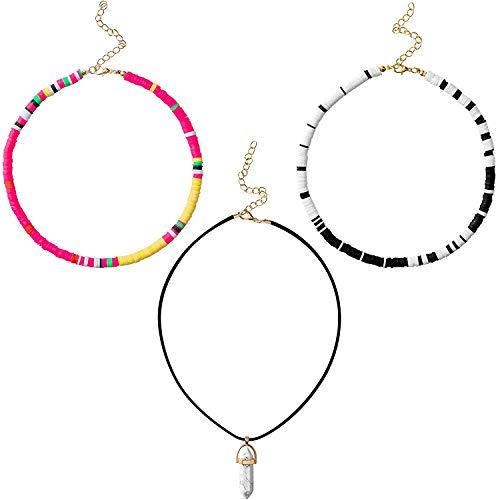 BeYumi 3 Pcs äußere Banken Halsketten Madison Bailey Hawaiian handgemachte Halsband bunte Rocailles Perle böhmische ketten verstellbare leichte Halskette Sommer Strand Urlaub Dress Up Zubehör für