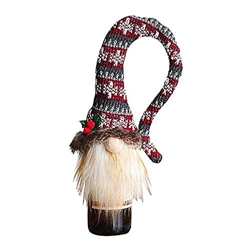 WHITULIP Cubierta de botella de vino Muñeca sin rostro Gorra larga Gorra de botella de vino tinto de punto Navidad Champagne Botella Cubierta decoración de Navidad