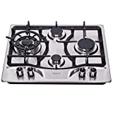 Hotfield 24 Inch Gas Cooktop Stainless Steel 5 Burners Stove top Dual Fuel Gas Hob NG/LPG Convertible Gas Cooktop HF4258-03 Stainless Steel