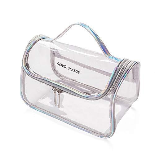 WFZ17 Trousse à maquillage transparente étanche avec fermeture éclair Gris argenté