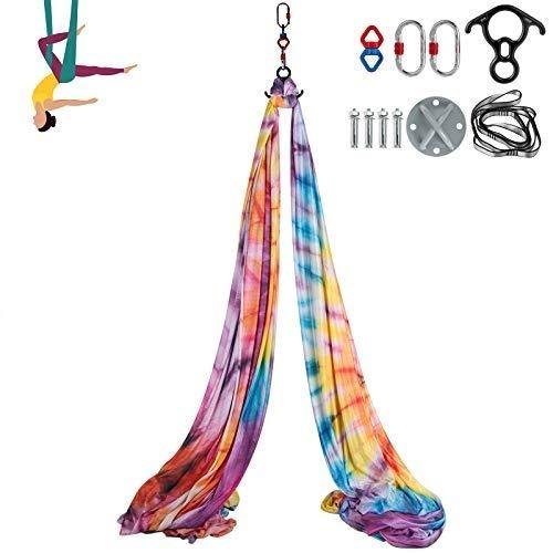 VEVOR 10x2,8M Luftyoga Hängematte Set Luftyoga Schaukel Lavendel Polyester Seide für Lufttanz Luftyoga Luft Yoga Zubehör Anfänger Fortgeschrittene(Vielfarbig)