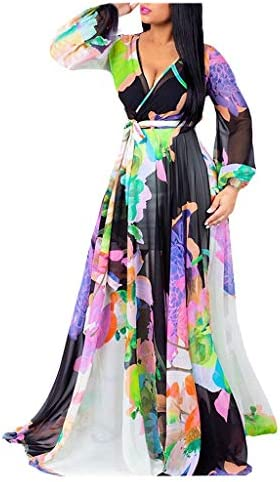 MISYAA Womens Gown Dresses Low Cut V Neck Watercolor Gradient Flower Print Long Sleeve Maxi product image