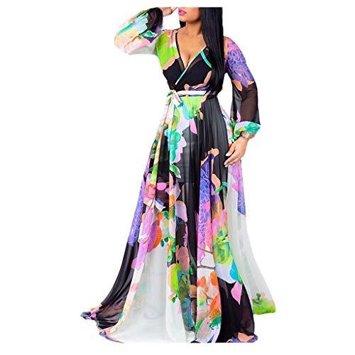 Cinnamou Mode Femme Col V Loisirs Loisir Longue Robe Rainbow Multicolore Imprimé Tunique Col V Fleurie Vintage Chic Elegante Mode Imprimé Florale Maxi Robe de Cocktail Soirée Ceremonie Plage Jupe