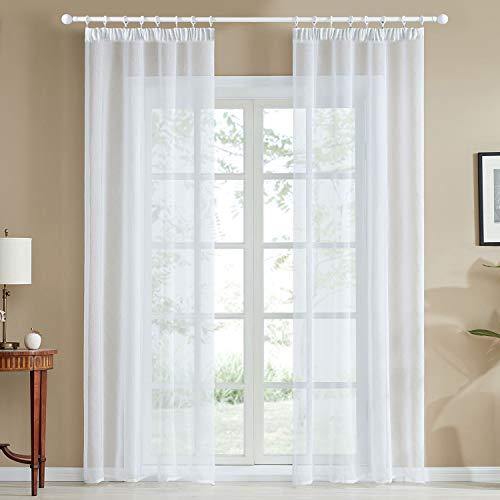 Topfinel Voile Vorhänge mit Kräuselband in Leinen-Optik Transparent für Wohnzimmer Schlafzimmer Fenster Einfarbige Gardinen Weiß 2er Set je140x245cm (BxH)