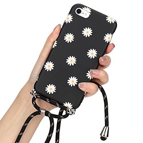 LLZ.COQUE Handykette Handyhülle für iPhone 6 Plus/iPhone 6S Plus Hülle mit Kordel zum Umhängen Gänseblümchen Schutzhülle mit Band Silikon Case Mond matt Hülle mit Kette zum umhängen Gänseblümchen