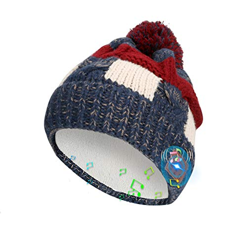 WIOR Bluetooth Beanie Hat for Women, Slouchy Double-Layer Fleece Lined Winter Cuff Cap with Pom Pom, Warm Knitted Music Hat w/Built-in Headphone & Mic for Outdoor Sports Skiing Skateboarding Jogging