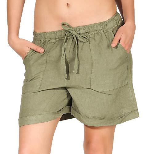 malito dames shorts uit linnen | ruimzittende bermuda | Korte broek | Pants voor aan het strand - Hotpants 1965