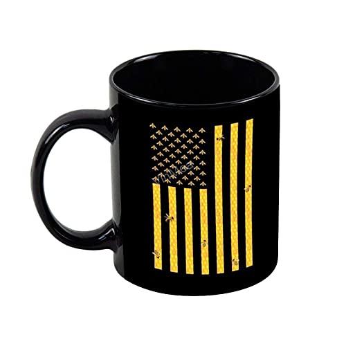 N\A Keramik Kaffeebecher Amerikanische Flagge Wabe Honigbiene Neuheit Kaffee Tee Tasse Weihnachtsfeiertag Geschenk Geburtstagsgeschenke, 11oz