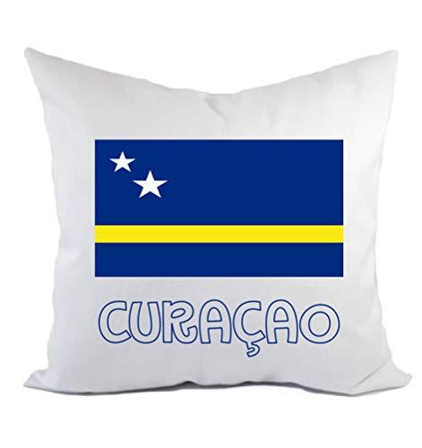 Typolitografie Ghisleri kussen Curacao vlag kussensloop en vulling 40 x 40 cm van polyester