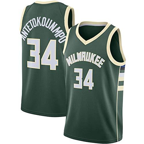 WSUN Camiseta De Hombre NBA Bucks # 34 Giannis Antetokounmpo Tela Transpirable Fresca All-Star Unisex Fan Uniforme Chaleco Sin Mangas Top Ropa,B,S(165~170CM/50~65KG)