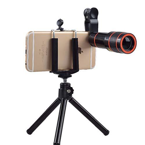 Hemobllo Lente para câmera de telefone – Lente teleobjetiva 12x – Lente universal para celular com clipe para lente de câmera monóculo com tripé compatível com iPhone, Samsung, smartphones Android