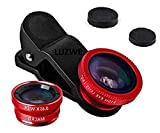 LUZWE® 3 in 1 Cell Phone Camera Lens Kit -Fish Eye Lens, Macro Lens & Wide Angle Lens Compatible for Android/iOS Smartphone