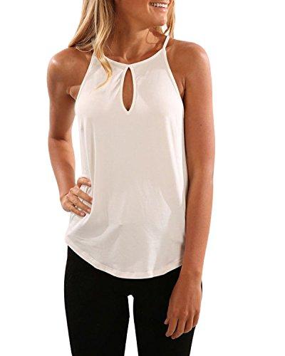 CNFIO Camisetas Tirantes Mujer Blusa Top Sin Mangas Cami Tank Tops De Casual para Mujer Blanco-1 EU44