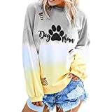 NANTE Top Loose Women's Blouse Dog Paw Print Gradient Color T Shirts Hollow Out Long Sleeve Shirt Womens Tops Costume Clothes (Yellow, XXL)
