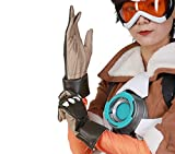OW Tracer Cosplay Gloves - Halloween Costume Accessories Brown Luxury PU Leather Gloves Game Anime Props, Medium