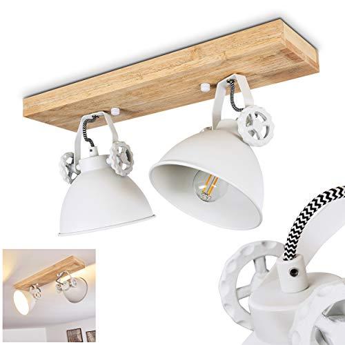 Deckenleuchte Svanfolk, Deckenlampe aus Metall/Holz in Weiß/Natur, 2-flammig, mit verstellbaren Strahlern, 2 x E14-Fassung, max. 40 Watt, Retro/Vinatge Design