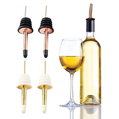 Yemiany zestaw do nalewania alkoholu, nalewania do butelek, 4 szt. zestaw nalewek ze stali nierdzewnej, nalewki z stożkową wylewką i nasadkami, korek do uszczelniania piwa korki do wina szampańskiego piwa (złoto, różowe złoto, 11 x 2,9 cm)