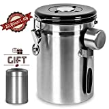 Coffee Canister Airtight,Shayson Stainless Steel Container for 635g/22.8oz Coffee Beans,Large 1800 ml Tea & Coffee Storage Jars with co2 Valve, 30ml Measure Spoon and 70 ml Mini Travel Jar