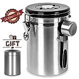 Shayson Große Vakuum Kaffeedose Teedose, 1800ml Luftdichter Kaffeebehälter aus Edelstahl für...
