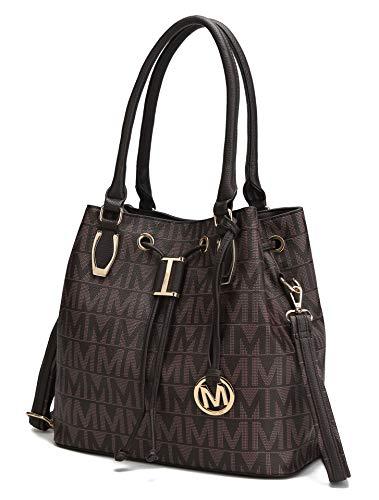 Mia K. Collection Crossbody Shoulder Handbag for Women Removable Shoulder Strap Vegan Leather Top-Handle Satchel-Tote Bag Chocolate