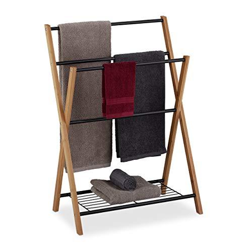 Relaxdays Handtuchhalter stehend, 4 Handtuchstangen, Badablage, Metall, Bambus, HBT 87 x 60,5 x 37,5 cm, schwarz/natur