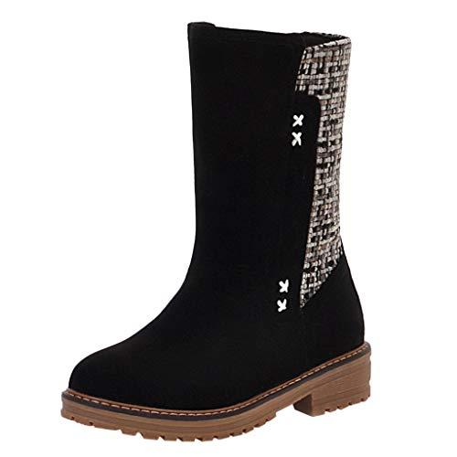 Botines para Mujer Botines Tacon Bajo Zapatillas sin Cordones Calzado Planos para Mujer Botas Lisos Casual de Moda Botines de Cuadros Botas Vintage LMMVP (Ropa)