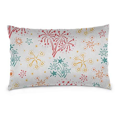 "Yagqiny Best Pillow Case Fireworks Colorful Design 100% Cotton Reversible Zipper Standard Size (20""x 30"") Zippered Pillowcase King Bath Pillow Cover Case Pillow"