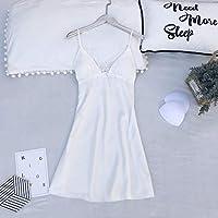 SDCVRE Pajama set 5PCS Pajamas Set Silk Satin Womens Lace Nightwear Spring Strap Pyjamas Suit Female Lounge Sleepwear with Chest Pads Home Wear,White, Pajamas,M
