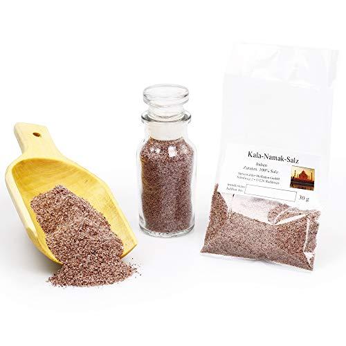 Kala Namak Salz, Veganes Salz Indien, Schwarzsalz, Natursalz, indisches Salz, Salzsspezialität Steinsalzmineral, 30g