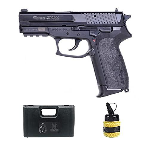 Pìstola SP2022 Vega Force (Muelle) | Pistola de Airsoft (Bolas de plástico 6mm) Tipo Sig + maletín de PVC + biberón de munición