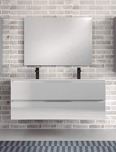 Juego de Mueble de Baño Modelo Toscana Porcelana, Conjunto formado por Mueble de Baño Lacado en Blanco Ancho 120cm, Lavabo de Porcelana con Doble Seno y Espejo a Juego