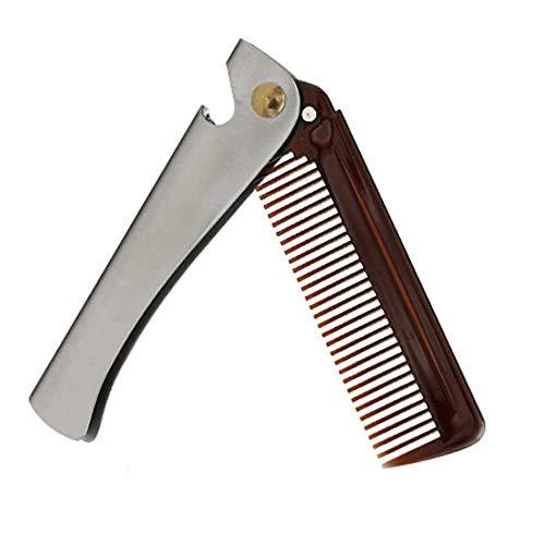 BOLUOBAO Peigne Barbe Pliable Inox Homme Multifonctionnel Peigne Barbe Acier Portable Petite (20.5x2.9cm, Argenté B)