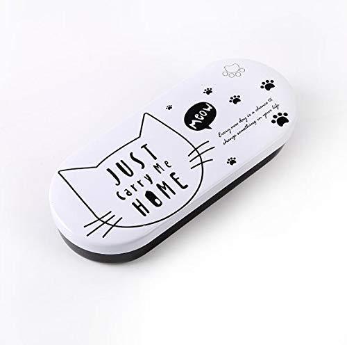 1 PC-Karikatur Schöne Kawaii schwarze weiße Katze-Bleistift-Kasten Eisen Zinn Metall Gläser Box Brillenetui Students Briefpapier-Geschenk (1)