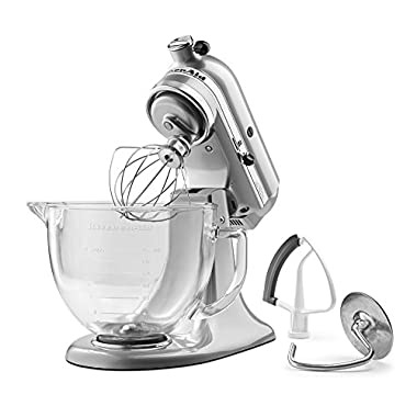KitchenAid KSM105GBCMC 5-Qt. Tilt-Head Stand Mixer with Glass Bowl and Flex Edge Beater - Metallic Chrome