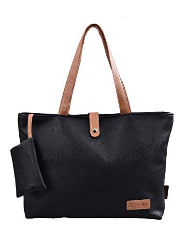 Douguyan Cerniera Shopper Ufficio Tote Bag Borse a Spalla Donna Borsa Handbag a Spalla in PU Ragazza Nero E00251