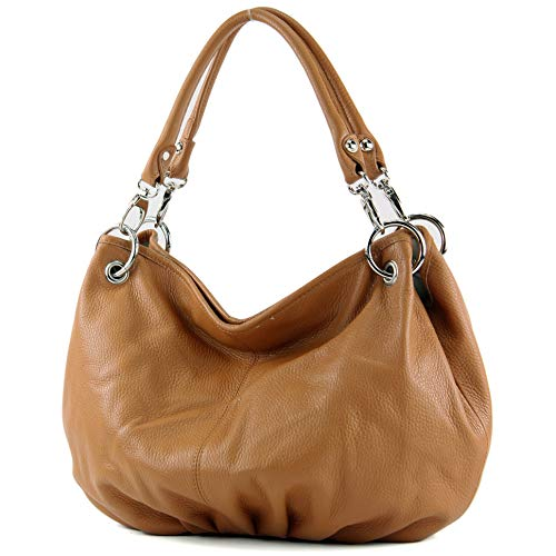 modamoda de - IT40 - ital. Damentasche aus Nappaleder/Leder, Farbe:Camel Leder