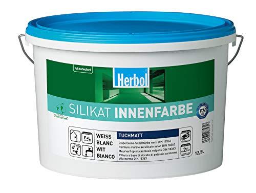 Herbol Silikatinnenfarbe Wandfarbe Silikat-Innenfarbe, Weiß, 5 L