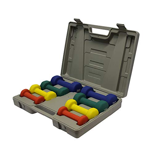FIT4HOME Neoprene Dumbbell Weights Set Multi Colour with Carry Case 10kg