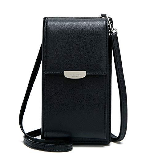Bolso cruzado pequeño para mujer de piel sintética para teléfono celular, cartera de viaje, bloqueo RFID, tarjeta de crédito, monedero