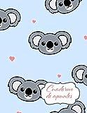 Cuaderno de Apuntes: Libreta Cuadriculada Cuadro Pequeño 5x5 mm con tema de Koalas Corazon Fondo Azul Hoja Blanca 8.5 x 11 in (21.5 x 27.9 cm) 120 paginas