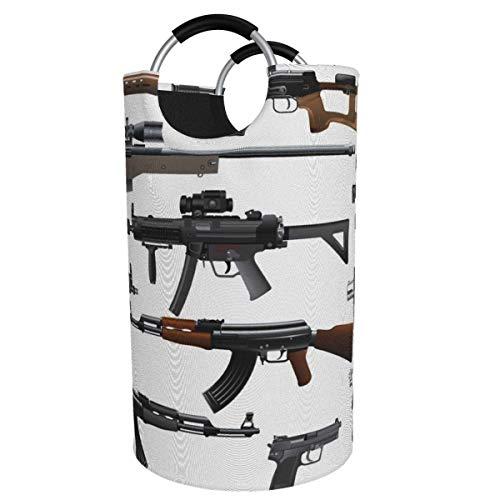 N\A Cesto de lavandería Grande de 82 l, Ametralladora de Rifle, Escopeta, cesto de lavandería de Tela Plegable, Bolsa de Ropa Plegable, cesto de Almacenamiento Plegable para lavadero