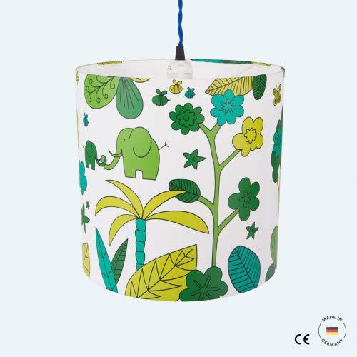 Jungle ist eine Kinder Deckenlampe/Hängeleuchte/Hängelampe/Pendelleuchte mit 30 cm Schirmumfang und bringt Abenteuer mit Dschungelmotiv ins Kinderzimmer
